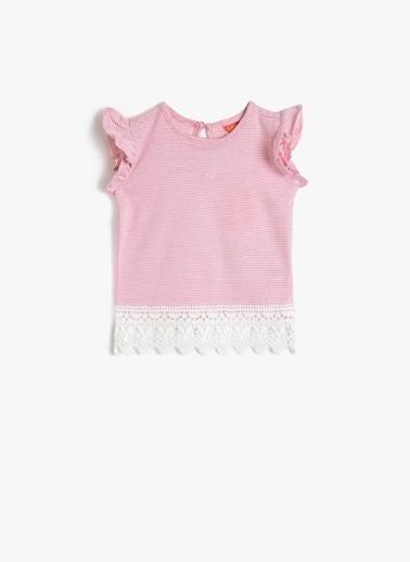 Koton Koton Dantel Detaylı Kolsuz T-Shirt Pembe